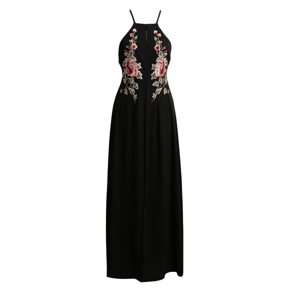 Sexy Women Long Split Dress Floral Embroidery Applique Cross Back Sleeveless Summer Beach Holiday Maxi Dress Black/White/Dark Blue - Vietees Shop Online