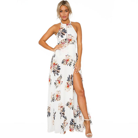 Women Chiffon Dress Floral Print Halter Sleeveless Split Backless Hollow Out Beach Maxi Gown Elegant Party One-Piece - Vietees Shop Online