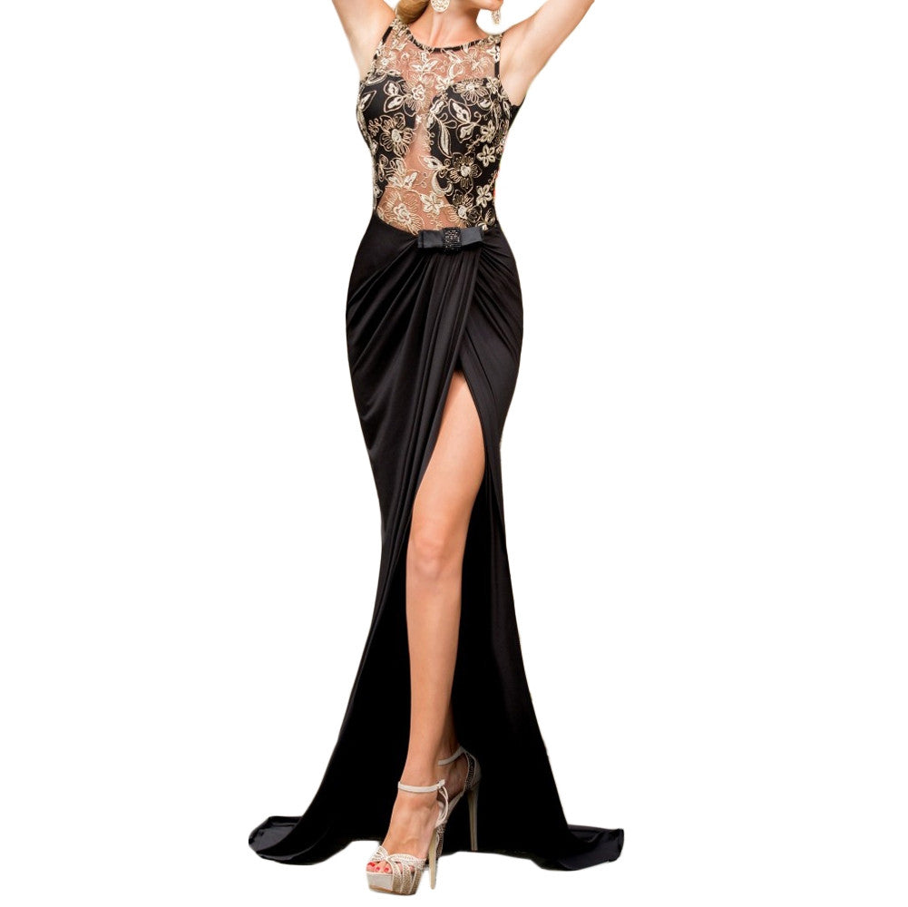 Fashion Women Maxi Dress Embroidery Mesh Insert Side Split Open Back Sleeveless Floor-Length Party Dress Black - Vietees Shop Online