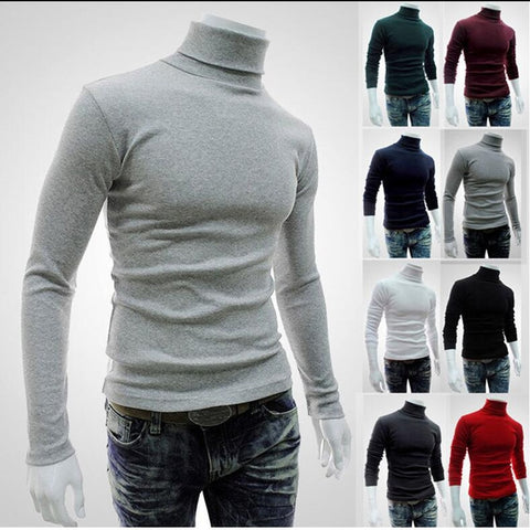 New Autumn Winter Men'S Sweater Men'S Turtleneck Solid Color Casual Sweater Men's Slim Fit - Vietees Shop Online