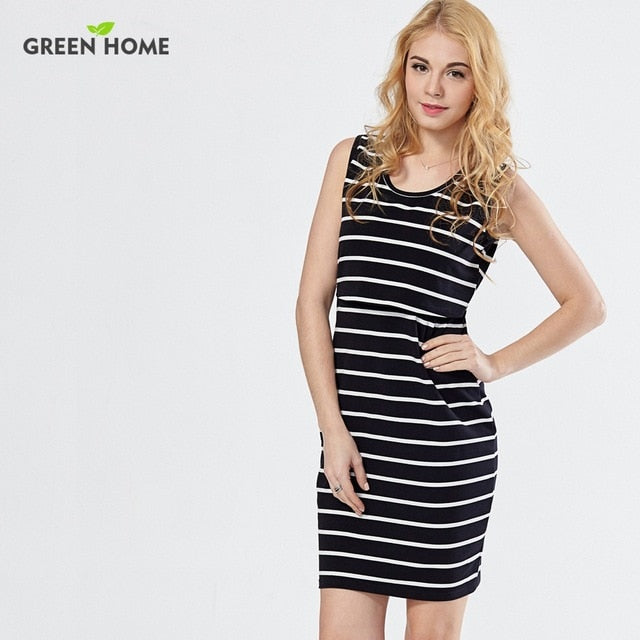 Green Home Cotton Striped Nursing Dress for Pregnancy Woman Short Summer Maternity Dresses - Vietees Shop Online