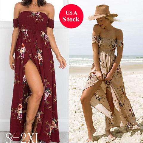 Newstar Boho Maxi Long Dresses for Women Floral Off the Shoulder Sexy Girls Beach Dress for Wedding Party - Vietees Shop Online