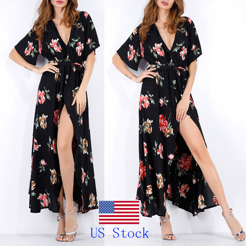 Floral Print Long Maxi Dresses Short Sleeve Summer Boho Beach Dress for Women Party Dress Sundress - Vietees Shop Online