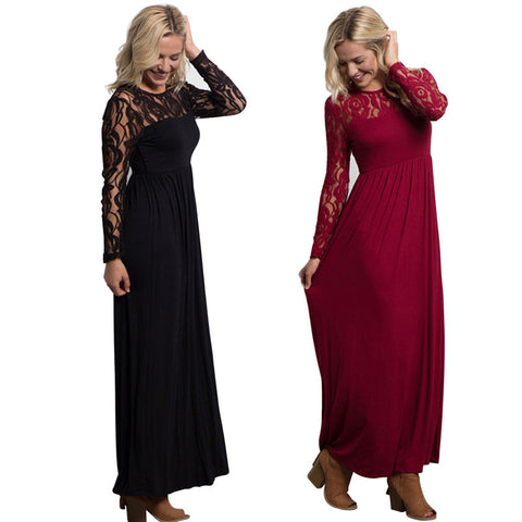 Sexy Evening Party Dresses Long Sleeve Elegant Ladies Maxi Lace Dress Spring Soild Color Dresses - Vietees Shop Online