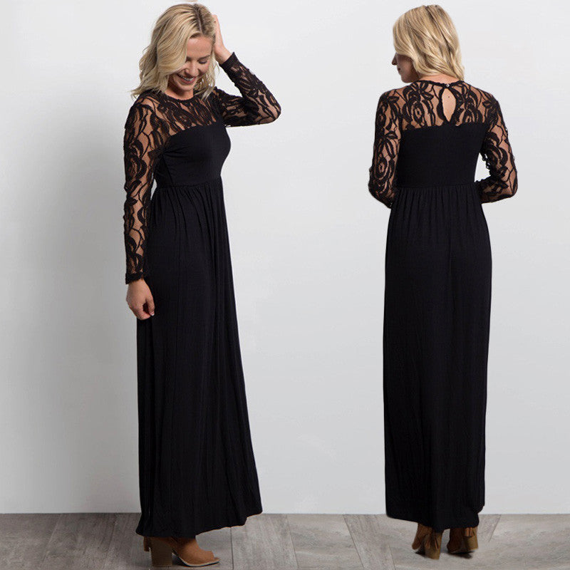 aa253d5c3db30 Sexy Evening Party Dresses Long Sleeve Elegant Ladies Maxi Lace ...