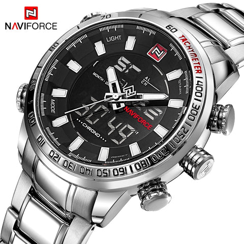 NAVIFORCE Top Brand Men Military Sport Watches Mens LED Analog Digital Watch - Vietees Shop Online