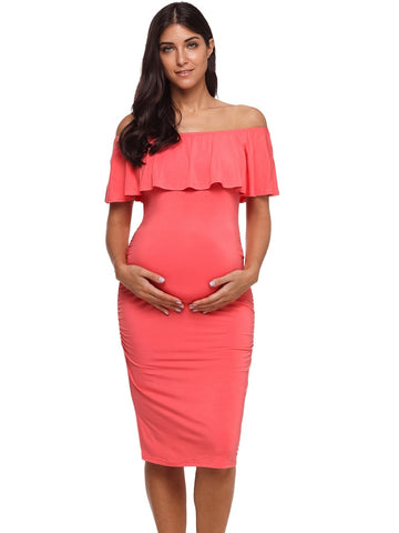 Women's Ruffle Off Shoulder Maternity Dress Women Dress Ruffles Pregnancy Clothes - Vietees Shop Online