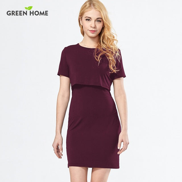 Green Home Straight Nursing Dresses for Pregnant Woman Clothing Modal Short Maternity - Vietees Shop Online