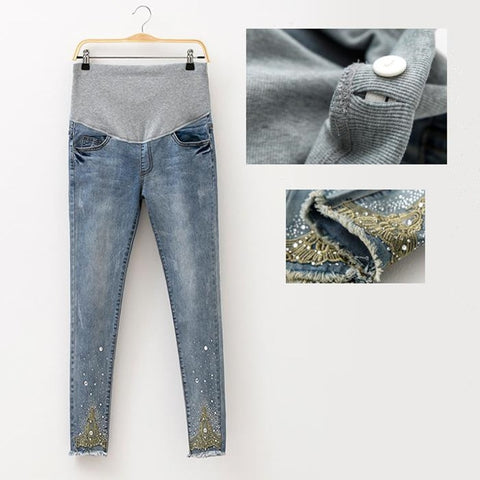 2018 Spring Jeans Maternity Pregnant Women Pants Fashion Hot Beads Maternity Pants - Vietees Shop Online