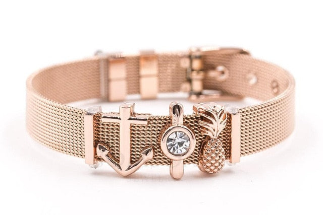 Somsoar Jewelry Rose Gold SOULMA Mesh Bracelet Set Stainless steel Bangle as Valentines Gift - Vietees Shop Online