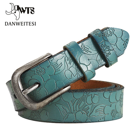 [DWTS]2016 New Women Belt Thin Genuine Leather Belt woman 5 Colour Floral carved Belts For Women Ceinture Femme - Vietees Shop Online