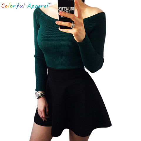 Colorful Apparel  Autumn and Winter basic Women Sweater slit neckline Strapless Sweater thickening sweater  CA111A - Vietees Shop Online