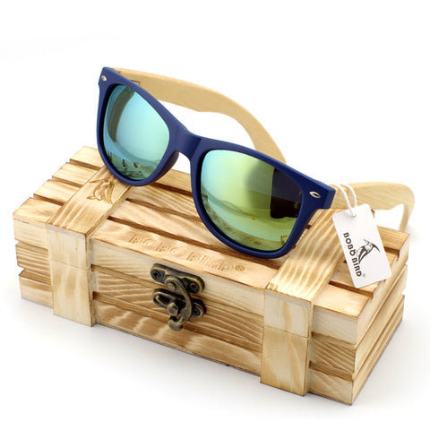 Men's Bamboo Wood Sunglasses in Vintage Style with Plastic Frame and Polarized UV Protection Colorful Lens In Gift Box - Vietees Shop Online