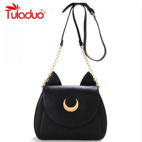 2016 New Summer Limited Sailor Moon Chain Shoulder Bag Ladies Luna Cat PU Leather Handbag - Vietees Shop Online