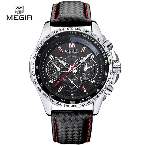 Megir fashion luminous quartz watch man casual leather brand watches men analog waterproof wristwatch for male hot hour 1010 - Vietees Shop Online