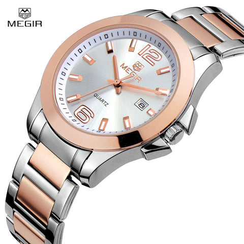 Megir Luxury Brand Watch Women Full Stainless Steel Gold Watch Men Montre Femme Fashion Business Waterproof Lover's Quartz-Watch - Vietees Shop Online