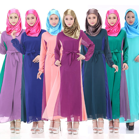 Muslim women abayas fashion abaya Long sleeved patchwork colors Beautiful islamic female summer clothing 3 colors double layer - Vietees Shop Online
