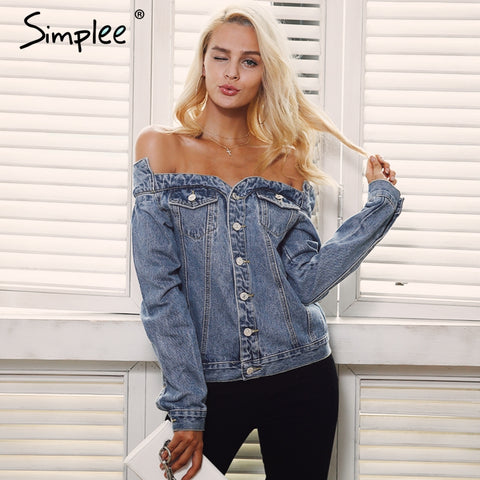 Simplee Sexy off shoulder denim jacket coat Women autumn casual slash neck jeans - Vietees Shop Online