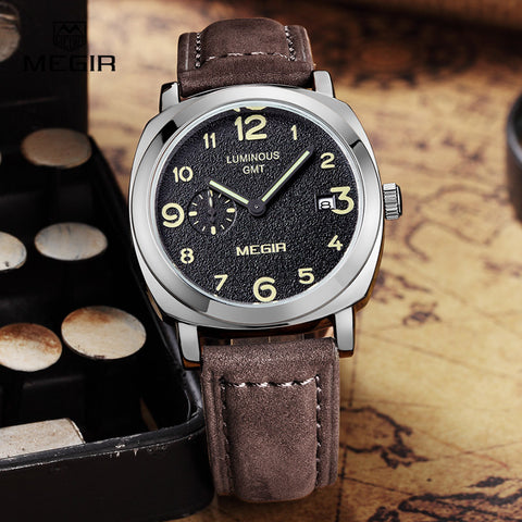 MEGIR fashion military leather quartz watch men casual business waterproof luminous analog wristwatch man free shipping 1046 - Vietees Shop Online