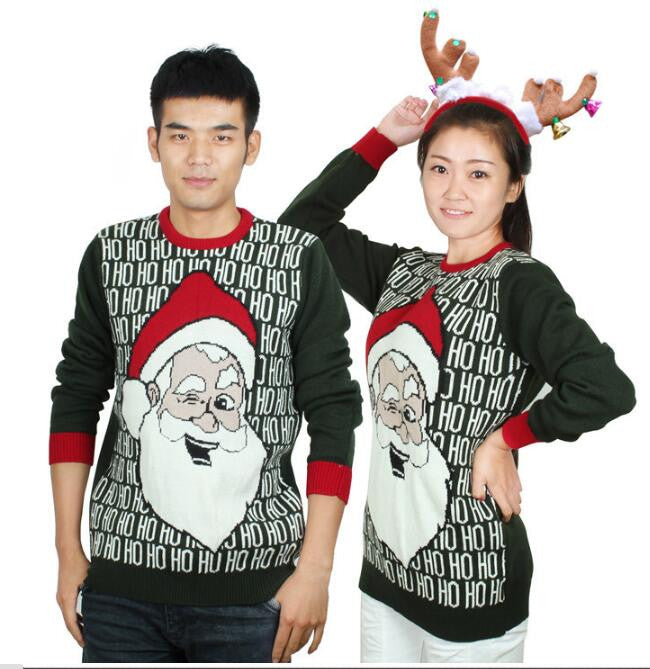 0d4bf8a699b4e7 Hot-sale Matching Ugly Christmas Sweaters for Couples Funny Santa Claus  Laughing HO HO HO Pattern Pullovers
