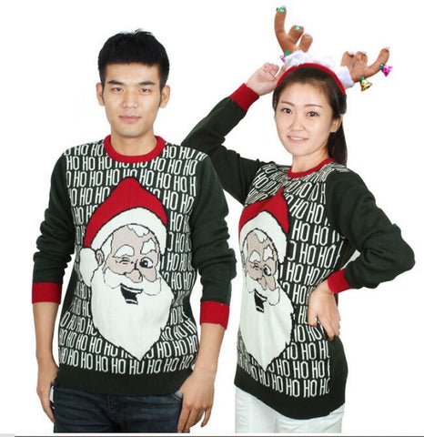 Hot-sale Matching Ugly Christmas Sweaters for Couples Funny Santa Claus Laughing HO HO HO Pattern Pullovers - Vietees Shop Online