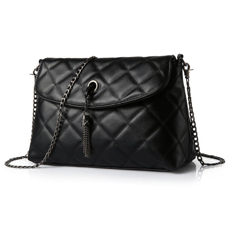 Plaid Small Fringe Embroidery Clutches Women Crossbody Black Bag Quilted Flap Shoulder Bag Women Messenger Chain Tassel Bag - Vietees Shop Online