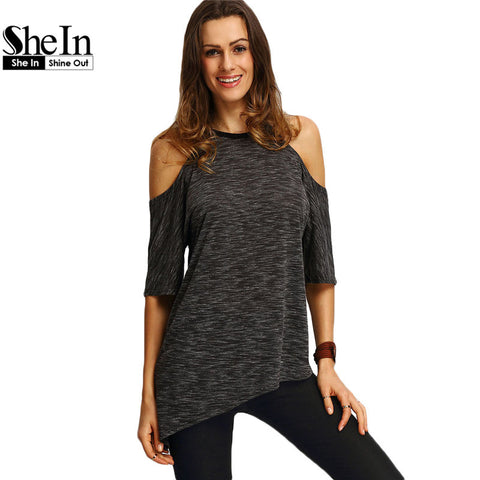 SheIn Summer Woman Fashion Tops Ladies Tee Shirts Casual Half Sleeve Cold Shoulder Black Crew Neck Asymmetric Hem T-shirt - Vietees Shop Online