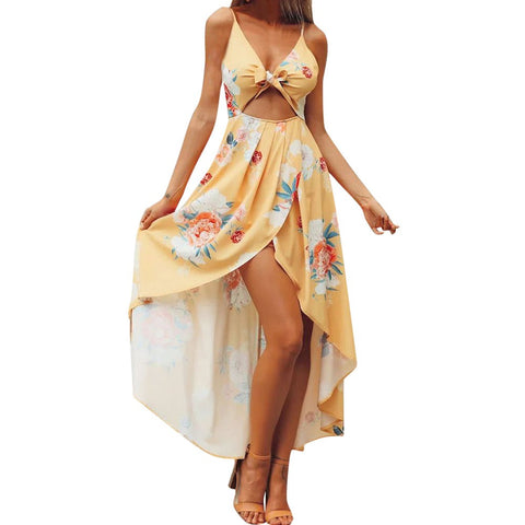 Women Boho Backless Printing Sleeveless Long Dress Summer Beach Dress - Vietees Shop Online