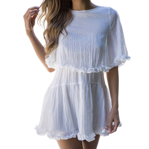 Women Solid Short Sleeve Ruffles Hem Summer Beach Boho Evening Party Mini Dress - Vietees Shop Online