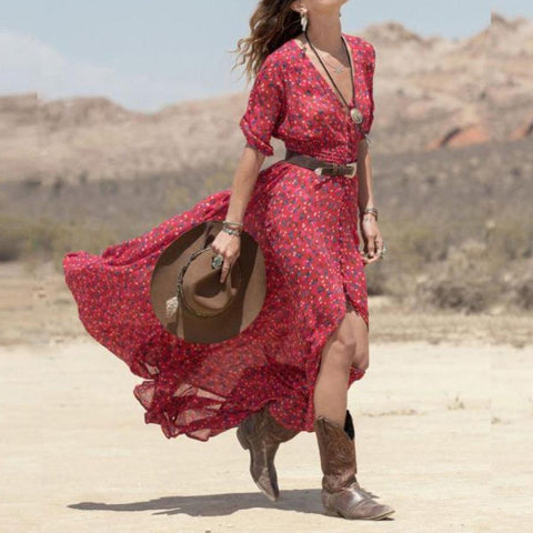 Women Boho Summer Chiffon Floral Party Beach Long Dress - Vietees Shop Online