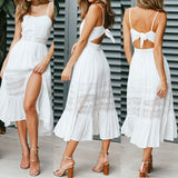Women Boho Backlesss Party Sundress Strappy Lace Holiday Long Maxi Dress - Vietees Shop Online