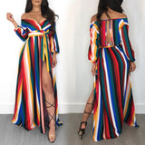 Women Off Shoulder Striped Maxi Loose Long Dress Tea Dress Boho Shirt Dress - Vietees Shop Online