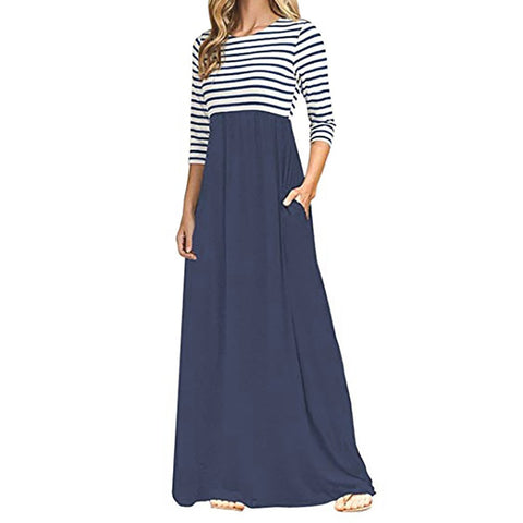 Women Stripe Long Sleeve High Waist Boho Long Maxi Dresses With Pockets - Vietees Shop Online