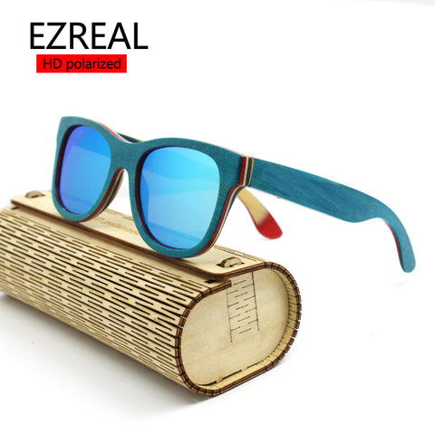 2016 TOP Brand Designer men wood Sunglasses New Polarized Blue Skateboard Wood sunGlasses Original Box Retro Vintage Eyewear - Vietees Shop Online