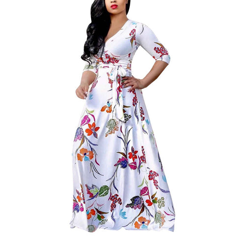 Women's Plus Size Sexy Loose Dress V-Neck Print Party Beach Boho Dress - Vietees Shop Online