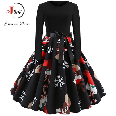Winter Christmas Dresses Women 50S 60S Vintage Robe Swing Pinup Elegant Party Dress Long Sleeve Casual Plus Size Print Black - Vietees Shop Online