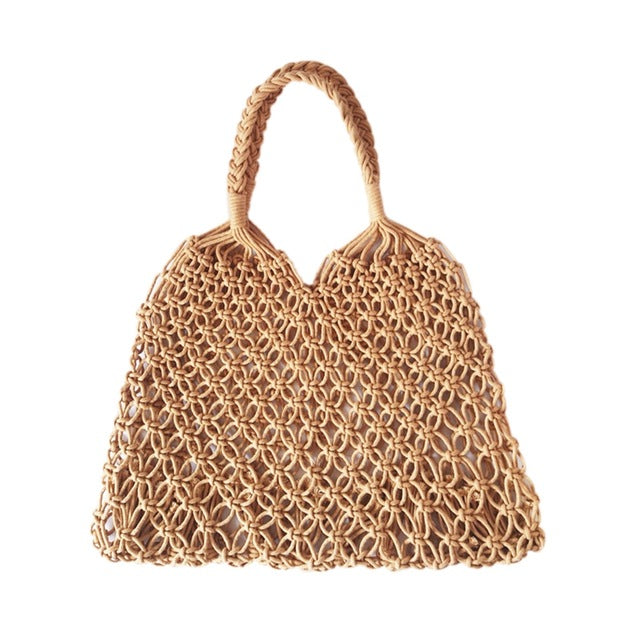 Fashion Popular Woven Bag Mesh Rope Weaving Tie Buckle Reticulate Hollow Bag No Lined Net Shoulder Bag - Vietees Shop Online