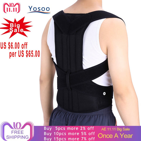 Adjustable Adult Corset Back Posture Corrector Therapy Shoulder Lumbar Brace Spine Support Belt - Vietees Shop Online