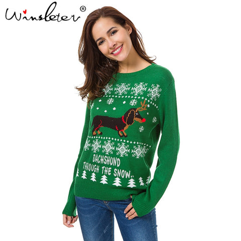 Ugly Sweater Winter Christmas Sweater Cute Dachshund Snow Letter Women Pullovers Long Sleeve Knitting Outwear Tricot C79311 - Vietees Shop Online