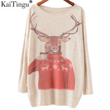 KaiTingu 2016 Autumn Winter Fashion Women Long Batwing Sleeve Knitted Christmas Deer Print Sweater Jumper Pullover Knitwear Tops - Vietees Shop Online
