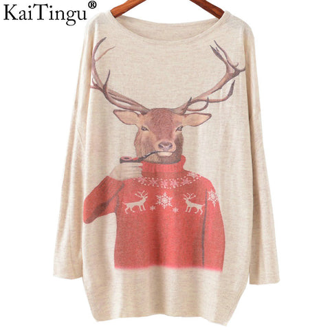 KaiTingu 2016 Autumn Winter Fashion Women Long Batwing Sleeve Knitted Christmas Deer Print Sweater Jumper Pullover Knitwear Tops - Vietees Shop Online - 1
