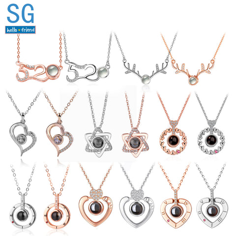 SG New Creative 100 Languages I love you 520 Necklaces Romantic Love Memory Custom Pendant Choker - Vietees Shop Online