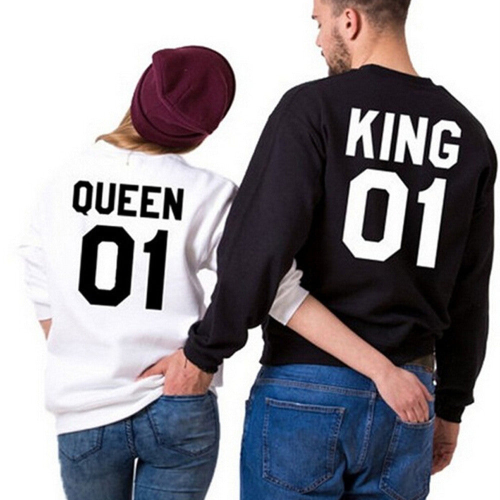 596145537d42 valentine t shirt King Queen 01 funny letter number printed Couples Leisure  T-shirt Man Tshirt Long Sleeve O neck T-shirts bts