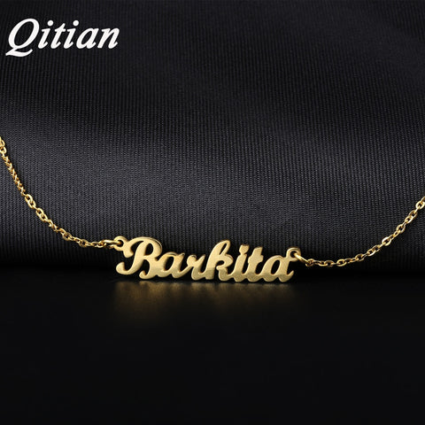 Qitian Name Necklace Gold Color Stainless Steel Personalized Custom Necklaces,Custom Name Necklace, Personalized Name Pendant - Vietees Shop Online
