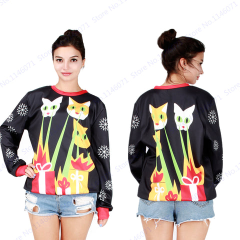 Joey's laser beam cats Christmas Training Sweaters Black Ugly Christmas Women Hoodies Sweatshirts Loose Snowflake Jacket Autumn - Vietees Shop Online