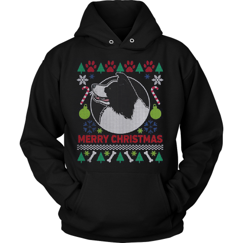 Border Collie Dog Breed Ugly Christmas Sweater Hoodie