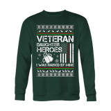 VETERAN DAUGHTER UGLY CHRISTMAS SWEATSHIRT - Vietees Shop Online - 1
