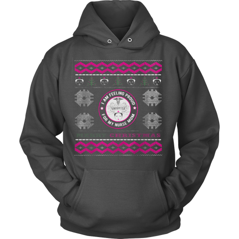 Nurses Daughter Ugly Christmas Sweater Hoodie - Vietees Shop Online