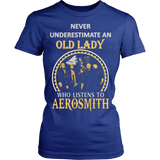 Never Underestimate an Old Lady who listens to Aerosmith T-shirt - Vietees Shop Online