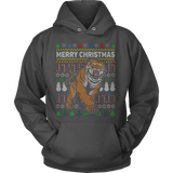 TIGER WILDLIFE UGLY CHRISTMAS SWEATER HOODIE - Vietees Shop Online